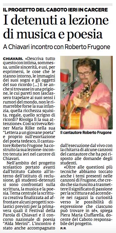 2017.02.09 Il Secolo XIX - I detenuti a lezione di musica e poesia