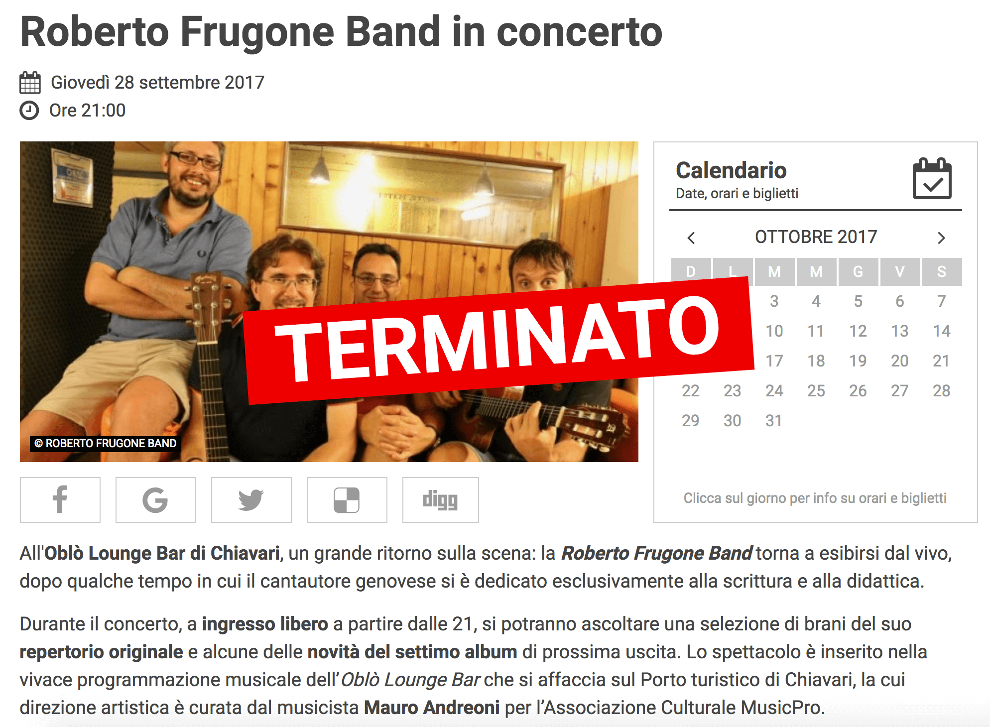 2017.09.28 Mentelocale - Roberto Frugone Band in concerto