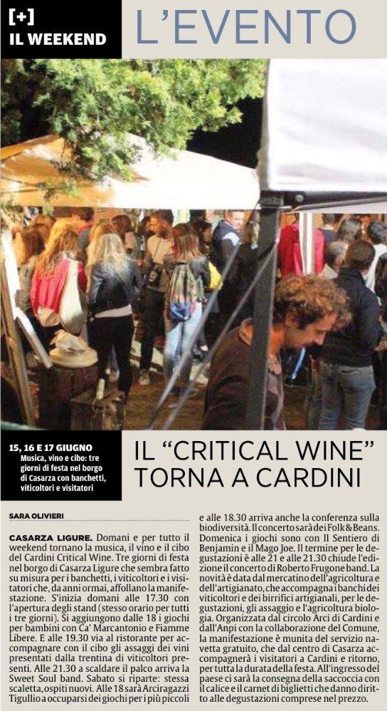 2018.06.14 Il Secolo XIX - Il Critical Wine torna a Cardini