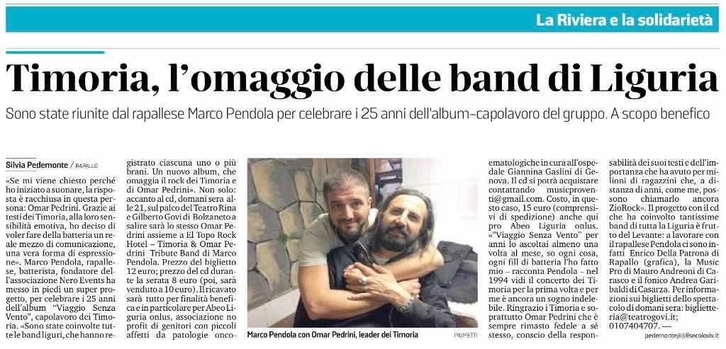 2018.11.23 Il Secolo XIX - Timoria, l'omaggio delle band di Liguria