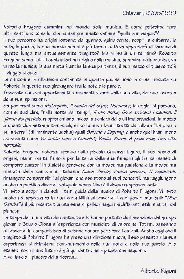 Alberto Rigoni, 21 giugno 1999 – Roberto Frugone cammina nel mondo della musica