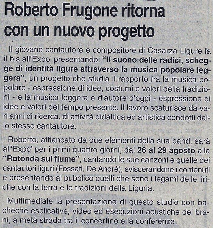 Corriere Mercantile – 28 agosto 1999 – Roberto Frugone ritorna con un nuovo progetto