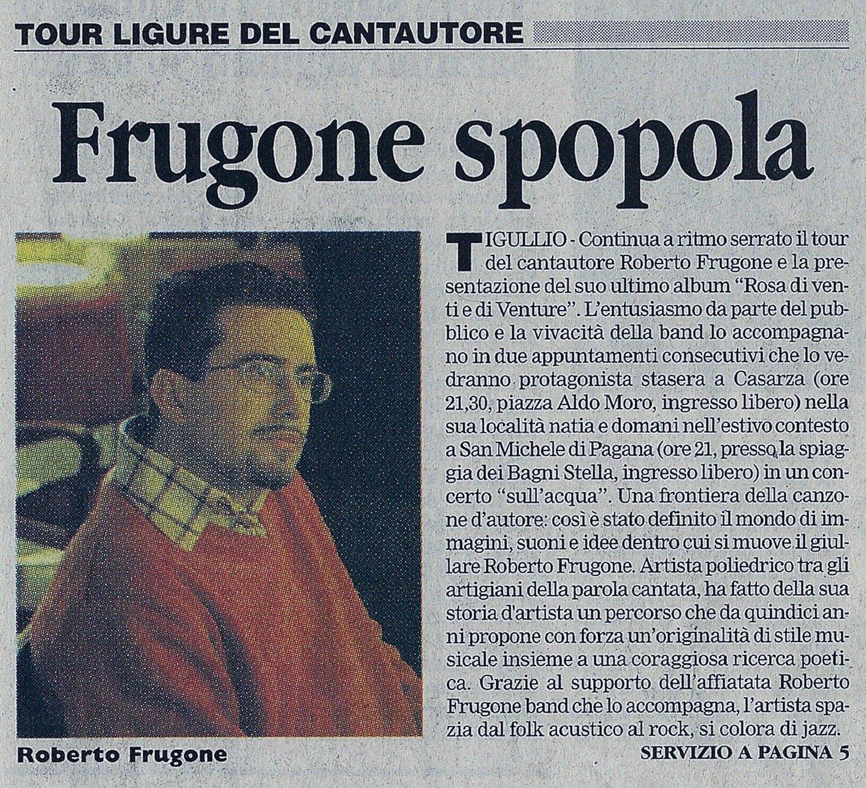 Corriere Mercantile, 5 agosto 2008 – Tour ligure del cantautore, Frugone spopola