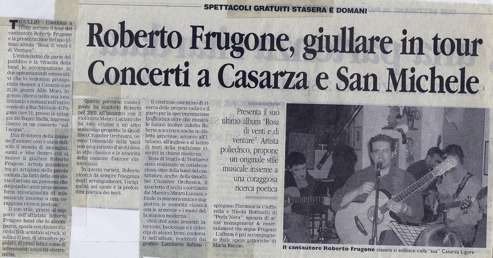 Corriere Mercantile, 5 agosto 2006 – Roberto Frugone, giullare in tour