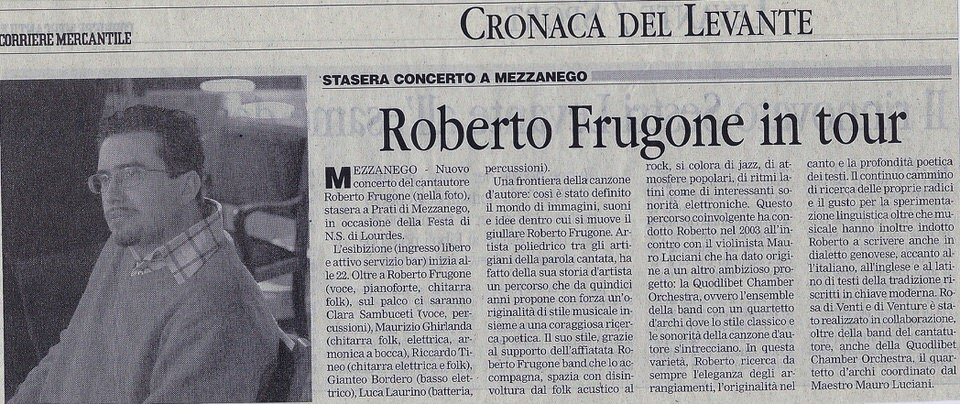 Corriere Mercantile, 3 settembre 2006 – Roberto Frugone in tour