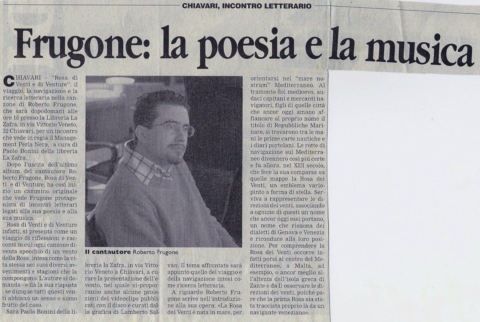 Corriere Mercantile, ottobre 2006 – Frugone: la poesia e la musica