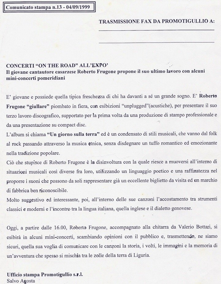 CS Expo Fontanabuona, 4 settembre 1999 – Il giovane cantautore casarzese Roberto Frugone propone il suo ultimo lavoro con alcuni mini-concerti pomeridiani