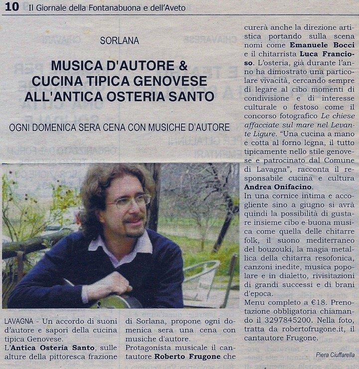 Il Giornale della Fontanabuona, anno 2010 – Musica d'autore e cucina tipica genovese all'Antica Osteria Santo