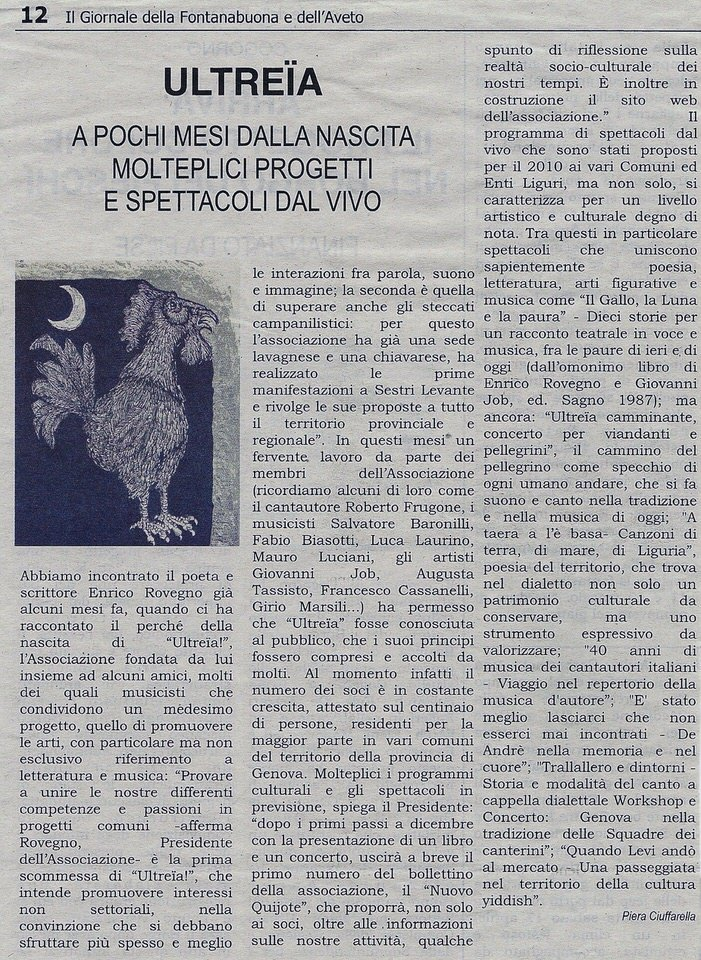 Il Giornale della Fontanabuona, anno 2010 – Ultreïa a pochi mesi dalla nascita molteplici progetti e spettacoli