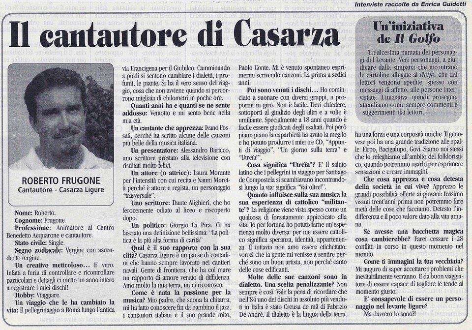 Il Golfo, aprile 2002 – Il cantautore di Casarza