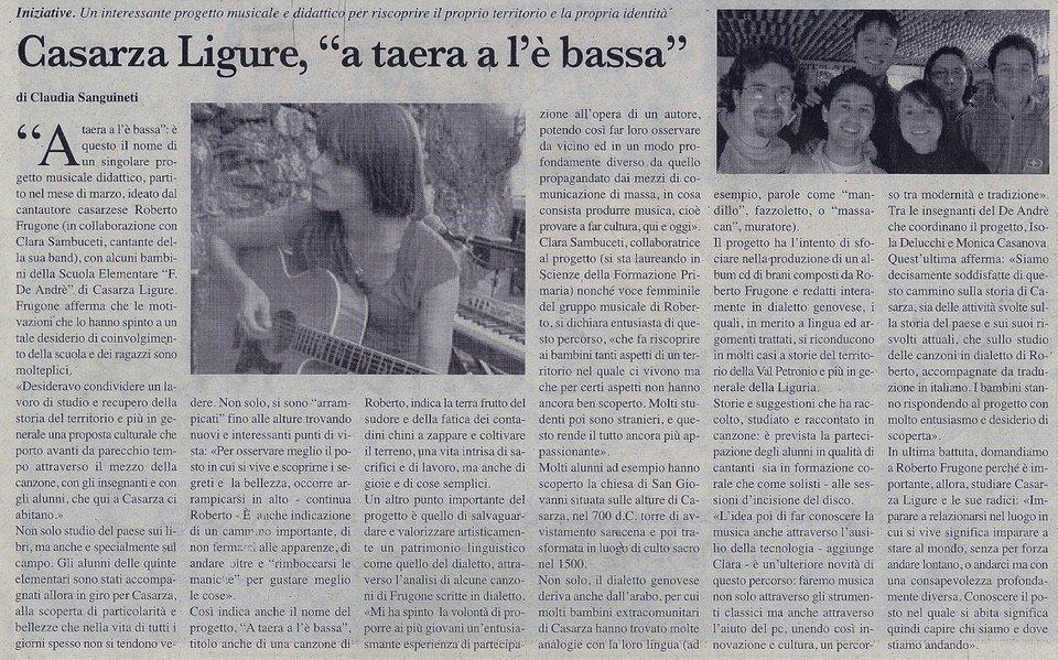 """Il Nuovo Levante, anno 2007 – Casarza Ligure, """"a taera a l'è bassa"""""""