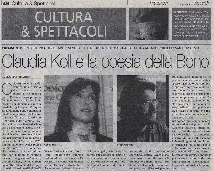 Il Nuovo Levante, 14 dicembre 2007 – Claudia Koll e la poesia della Bono