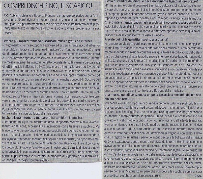 """Il Nuovo Levante, anno 2008 – """"Compri dischi? No, li scarico"""""""