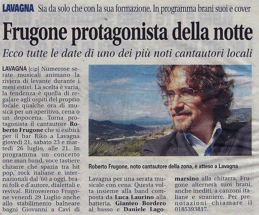 Il Nuovo Levante, anno 2010 – Frugone protagonista della notte. Ecco tutte le date di uno dei più noti cantautori locali