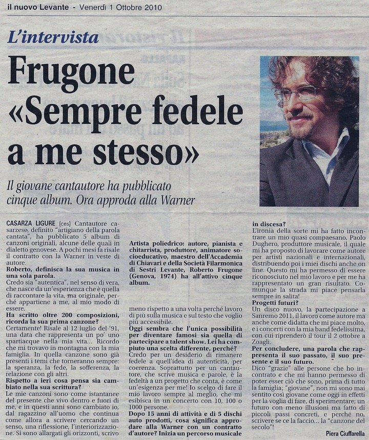 """Il Nuovo Levante, 1 ottobre 2010 – Frugone """"sempre fedele a me stesso"""""""