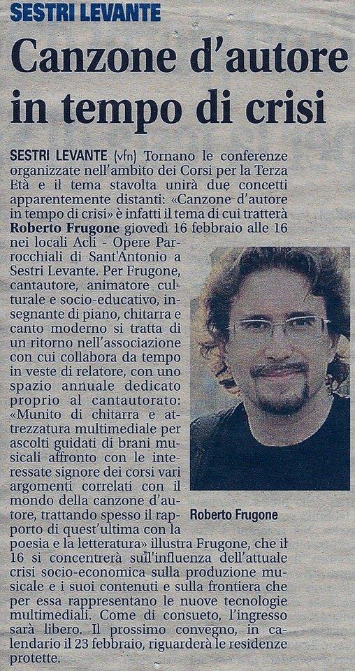 Il Nuovo Levante, 23 febbraio 2011 – Canzone d'autore in tempo di crisi
