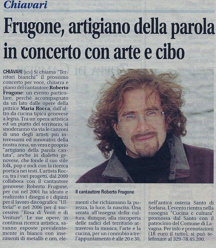 Il Nuovo Levante, 11 novembre 2011 – Frugone, artigiano della parola in concerto con arte e cibo