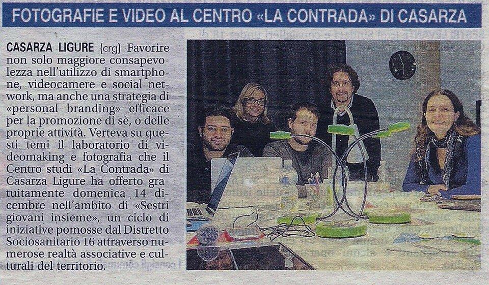 Il Nuovo Levante, 11 dicembre 2014 – Fotografie e video al Centro Studi La Contrada di Casarza