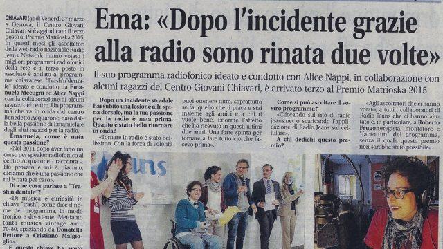 Il Nuovo Levante 2015.04.03 – Ema, dopo l'incidente grazie alla radio sono rinata