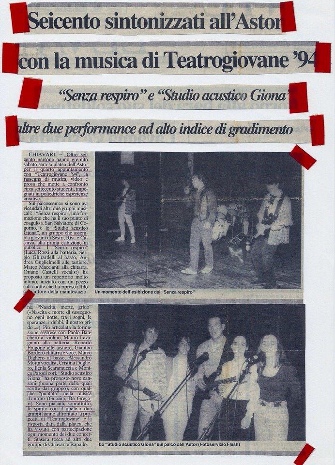 Il Secolo XIX, 14 aprile 1994 – Seicento sintonizzati all'Astor con la musica di Teatrogiovane '94