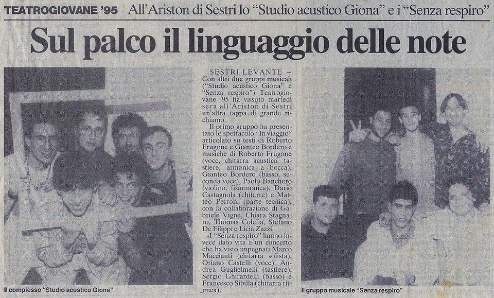 Il Secolo XIX, 24 maggio 1995 – Sul palco il linguaggio delle note