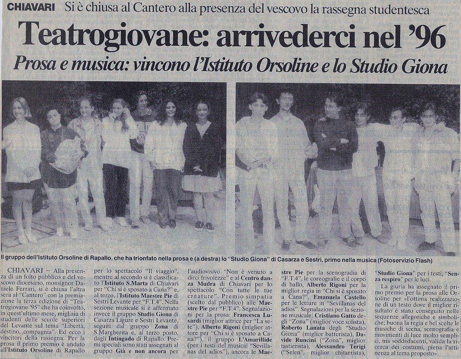 Il Secolo XIX. 15 giugno 1995 – Teatrogiovane: arrivederci nel 1996. Prosa e musica: vincono l'Istituto Orsoline e lo Studio Giona