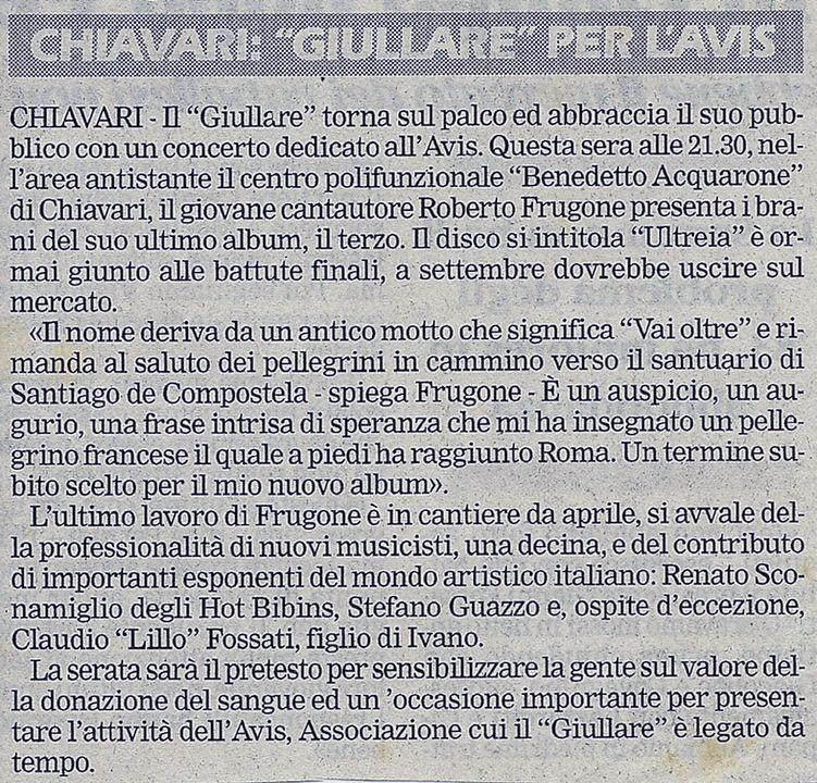 """Il Secolo XIX, maggio 2002 – Chiavari: """"Giullare"""" per l'Avis"""