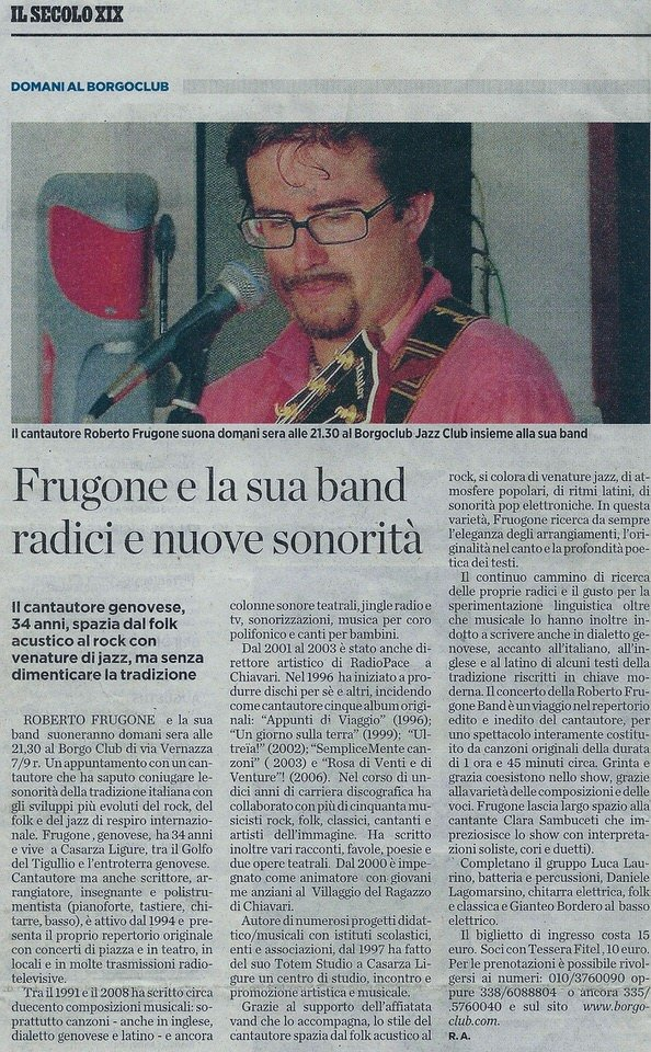 Il Secolo XIX, 15 febbraio 2008 – Frugone e la sua band: radici e nuove sonorità