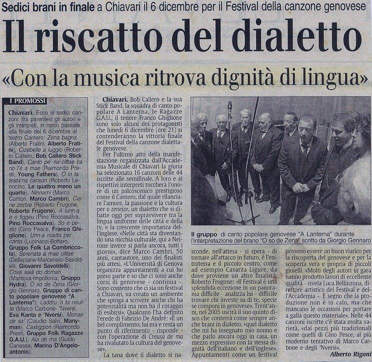 Il Secolo XIX, anno 2009 – Il riscatto del dialetto