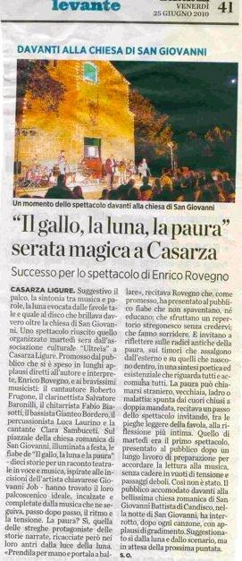 Il Secolo XIX 25 giugno 2010 Il gallo, la luna e la paura – Serata magica a Casarza