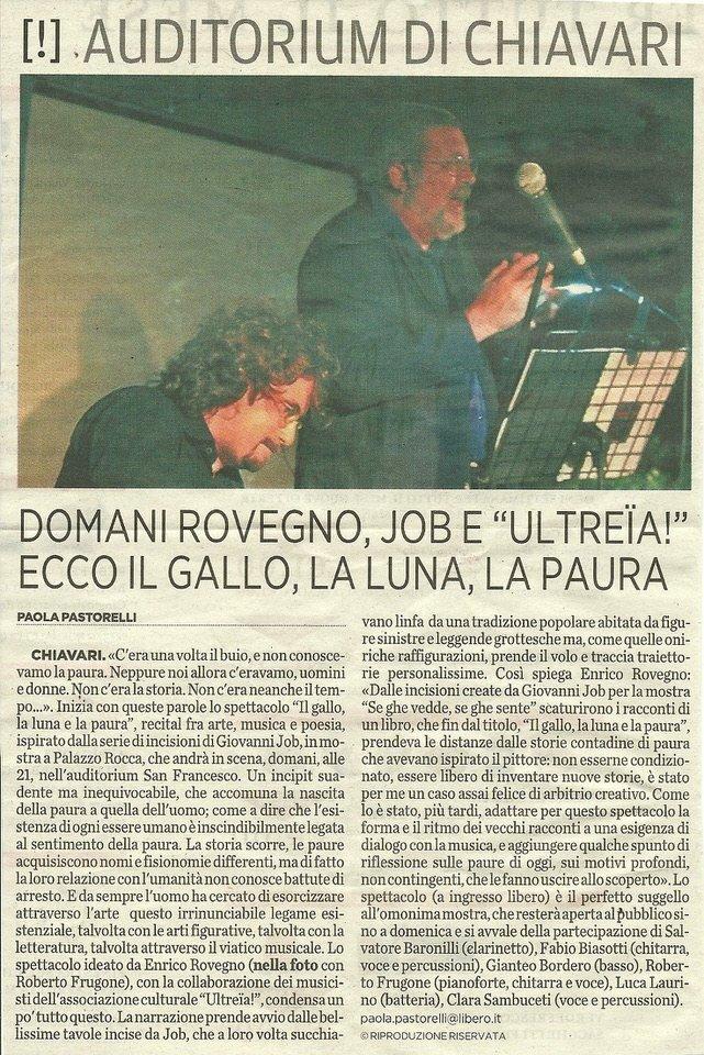 Il Secolo XIX 25 ottobre 2012 – Domani Rovegno, Job e Ultreia! Ecco Il gallo, la luna e la paura