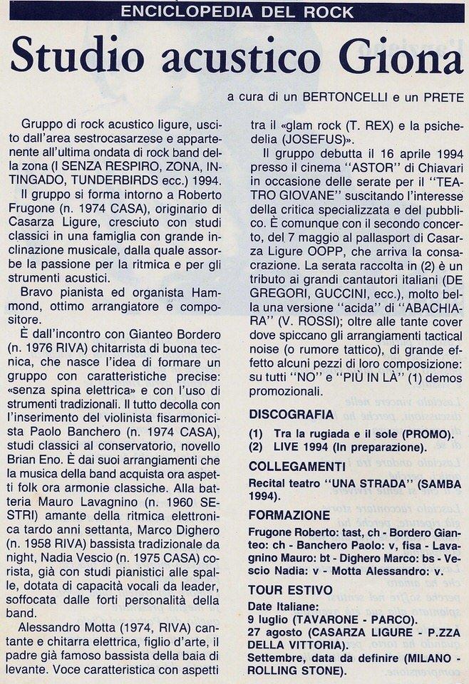 Le campane di Casarza Ligure, 6 maggio 1994 – Studio Acustico Giona