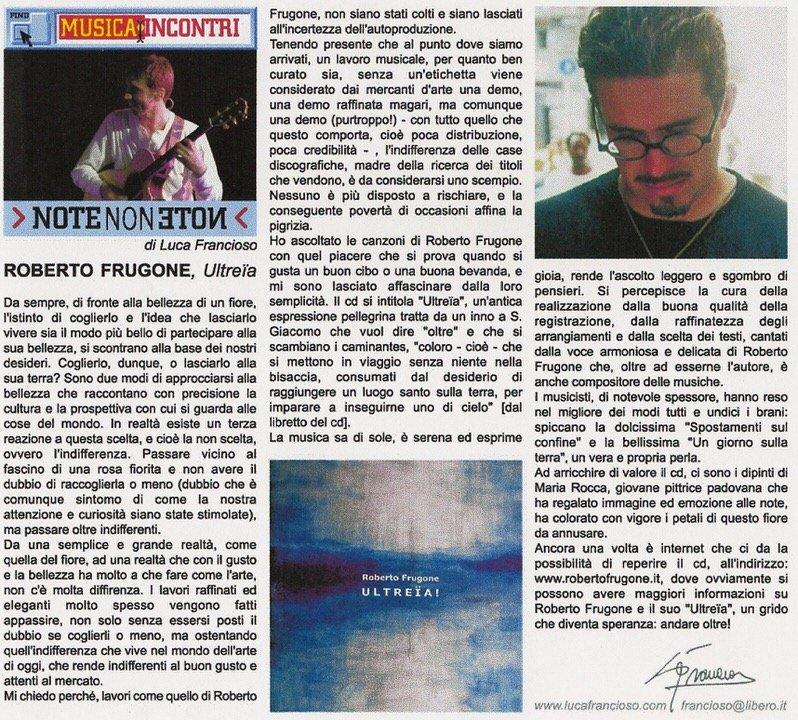 Note non note, anno 2002 – Roberto Frugone, Ultreia!