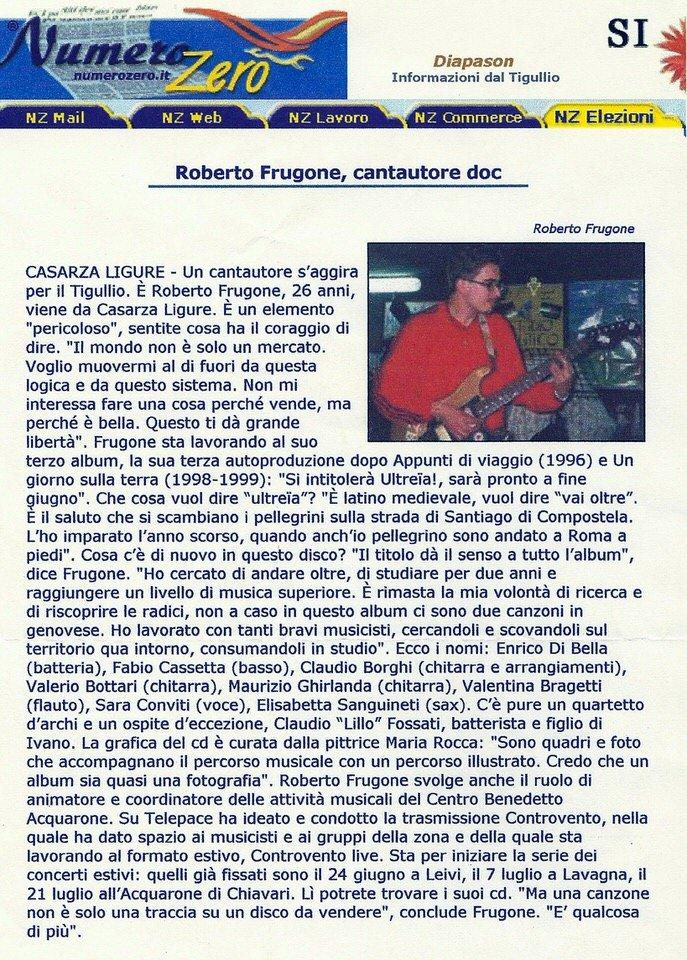 Numero Zero, 7 giugno 2001 – Roberto Frugone, cantautore doc