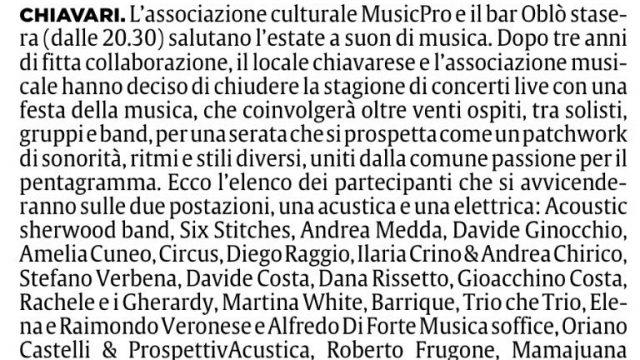 2017.09.21 Il Secolo XIX - La Festa della Musica al Bar Oblò di Chiavari